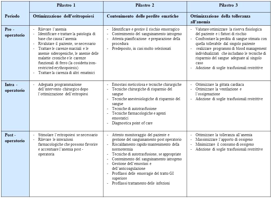 Tabella 1 - I tre pilastri del Patient Blood Management (adattato da Hofmann A. et al., 2011)