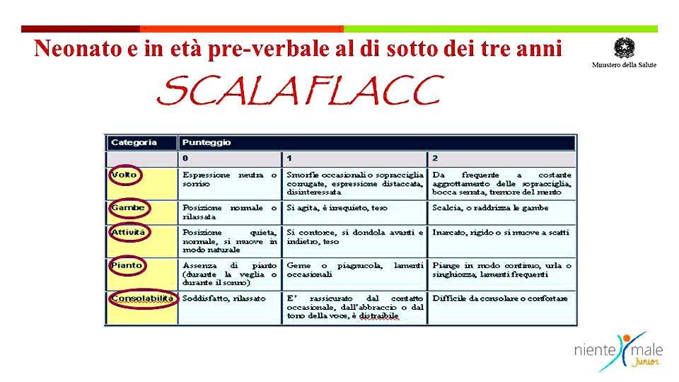 Tabella 1 – Scale per la misurazione del dolore - SCALA FLACC