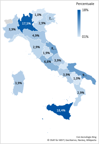 Figura 5 - Distribuzione per regione dei reati